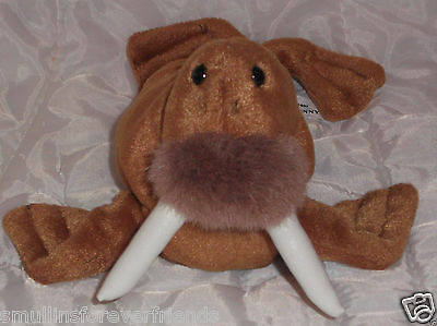 "Ganz Lenny Walrus Brown Stuffed Animal Plush Toy 11"" 1996  Leather Like Tusks"