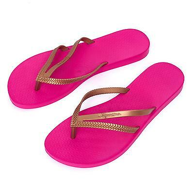 ed36538b0e3bb5 Ipanema Women s flip flops Rubber Sandals thong Brazil Pink Rosa Gold Strap  New