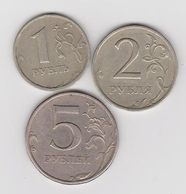 Russia 1997 Set 1, 2, & 5 Rouble Coins (Y604, 5 & 6) Great Condition ~ You Grade