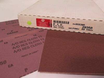 "Carborundum Abrasives 9"" x 11"" A/O Aluminum Oxide Cloth 29358 Grit 150 Brand New"