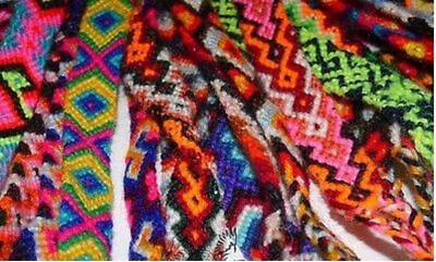 #230 Pack 20 Wool Friendship Bracelets Multicolored Peru Wholesale Pack Lot New