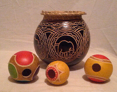 Vintage African Carved Gourd Game With  Animal Figures Elephant Rhinoceros
