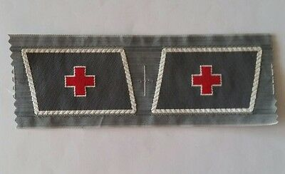 German red cross (DRK) Bevo collar tabs WW2 - ORIGINAL