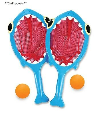 Melissa Doug Sunny Patch Spark Shark Toss and Catch Net Pool Game With 2 Balls