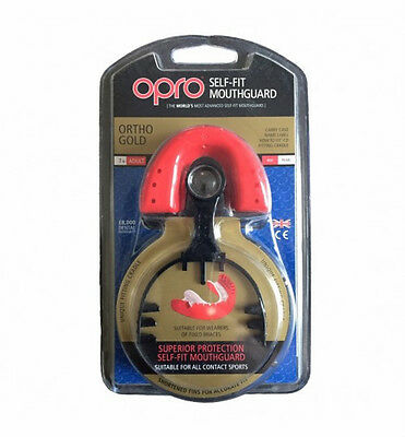 OPRO Ortho Gold Self-Fit Mouthguard Rugby Hockey RRP $49.99 - For Fixed Braces
