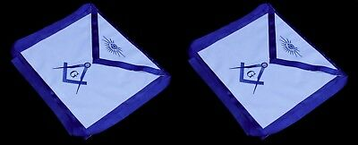 2 Lot Masonic Square Compass EMBROIDERED Apron Freemason Blue Lodge Fraternity