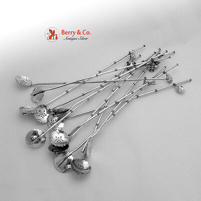 Figural Iced Teaspoon Straws 12 950 Sterling Silver 1960