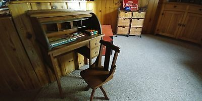 antique childrens rolltop desk, with matching chair