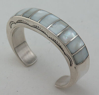 Stunning Sterling Silver & Mother of Pearl Channel Inlay Heavy 53g Cuff Bracelet