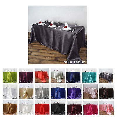 """90x156"""" Rectangle Satin Tablecloth For Wedding Party Banquet Events Decoration"""