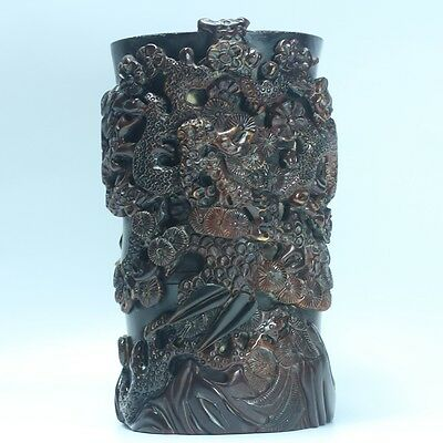 Chinese Exquisite Hand-carved landscape bamboo carving OX horns Pen holder