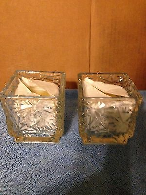 Nice, Avon Winter Lights,Snowflake,Square Glass Votive, Christmas Decor Candle
