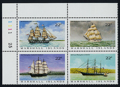 Marshall Islands 135a TL Plate Block MNH US Whaling Ships