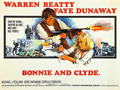 """Bonnie and Clyde 1967 16"""" x 12"""" Reproduction Movie Poster Photograph"""