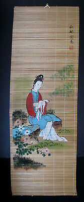 """Vintage Bamboo Scroll, Elegant Painted Asian Lady, 12"""" x 36"""""""