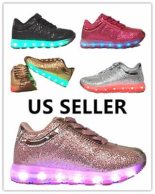 Link Girls Kids & Toddler Signal Glittering LED Tennis Shoes Light Up/Chargable