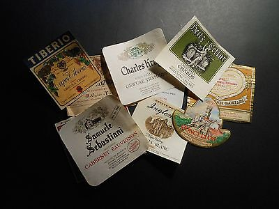 "(10) Vintage Wine / Liquor Bottle Labels ""germany, Italy, Portugal & California"