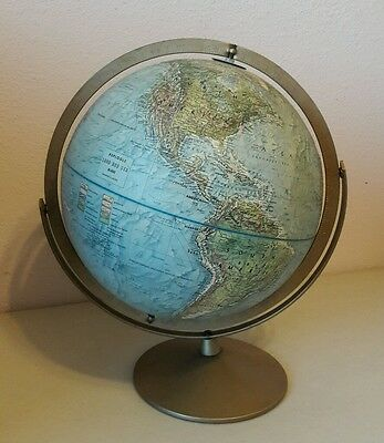 "VINTAGE 1960s REPLOGLE 12"" LAND AND SEA GLOBE DUAL AXIS"
