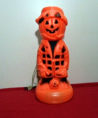 "Vintage Lighted Blow Mold Plastic Halloween Pumpkin Head Scarecrow 13"" Works"