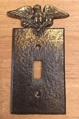Vintage Emig Hammered Gold Tone Brass Eagle Single Wall Switch Cover Plate
