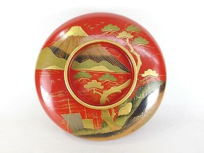 Japanese antique vintage Makie red lacquer wood round cover Ohira bowl chacha