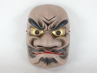 Japanese antique vintage pottery Shinto Futodamanomikoto mask ornament chacha
