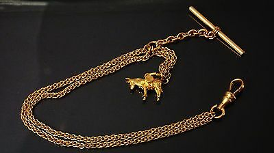 Antique gold filled pocket watch chain fob 8.5 inch