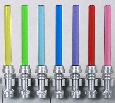 LEGO Star Wars - 7 Lightsabers, Silver Hilts, 7 Colors Bubble-Free Blades (NEW)