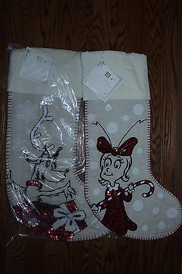 s/3 NWT Pottery Barn PB Teen Sequin Christmas stockings: Grinch, Cindy Lou & Max