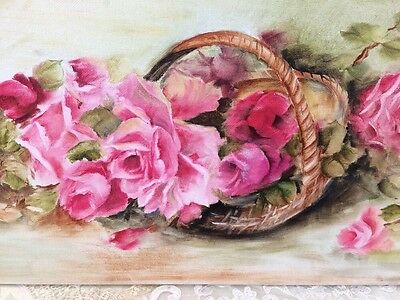 Shabby Chic Pink Roses Oil Hand Painted Canvas