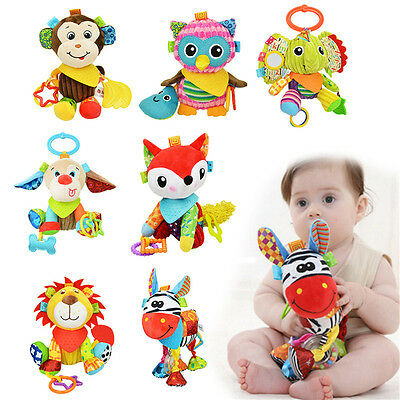 Newborn Baby Bed Hanging Plush Rattle Teether Ring Paper Handkerchief Toys