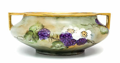 Hand-Painted Antique Lusterware Royal Austria Bowl With Blackberry Motif