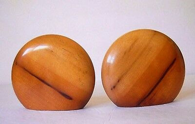 Vintage Pair of Myrtlewood Round Wood Bookends Handcrafted w/ Bases Oregon, USA