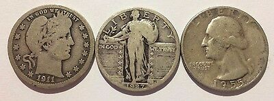 Type set of 1911, 1927, 1955 Silver Quarters