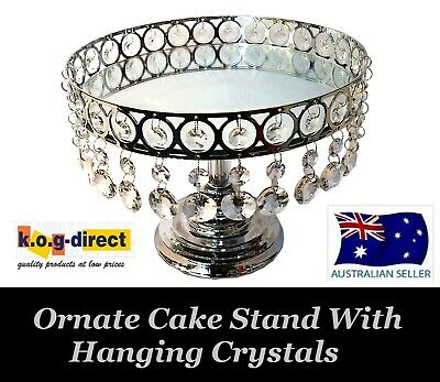 Wedding Round Cake Plate Stand 25Cm  Ornate Metal Ring Hanging Crystals Hw-64