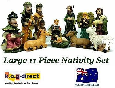 Large 11 Piece Christmas Nativity Set Scene With 11 Figures New Hw-50