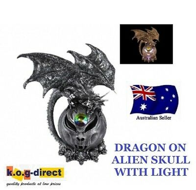 Gothic Silver Dragon On Alien Skull With Light Myth And Magic New 33Cm -Dragalis