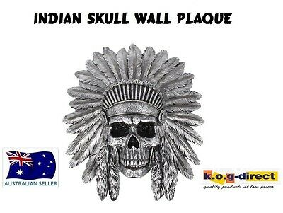 Gothic Hanging Indian Skull Antique Wall Plaque Fantasy New Skulinwp