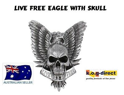 Gothic Hanging Skull With Eagle Live Free Fantasy Wall Plaque New Skullfwp