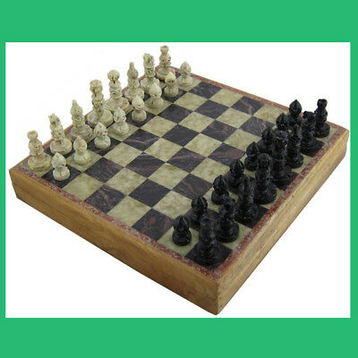 "Handmade Wooden Marble Stone, Unique Chess Pieces And Board Set Game, 6"" x 6"""