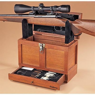 Rifle Rack Gun Cleaning Kit Tool Box Wood Chest Pistol Shotgun Rest Hunt Storage