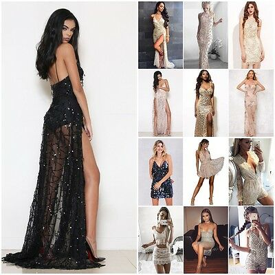 Women Sequin Maxi High Split Gold Long Prom Ball Gown Party Cocktail Prom Dress