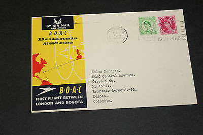 Boac 1960 First Flight Cover Between London Bogota Columbia , Address Gb Franked