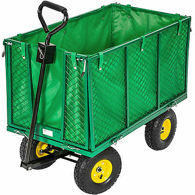 XXL Heavy Duty Wheelbarrow Garden Mesh Cart Trolley Utility Cart Tipper Dump