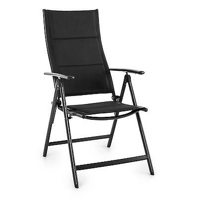Garden Chair Patio Balcony Bbq Camp Outdoor Home Folding Aluminium Relax Black