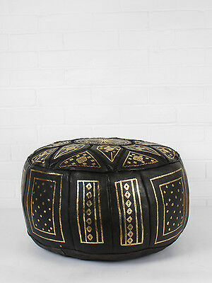 Black & Gold Authentic Moroccan Leather Ottoman or Pouf or Pouffe