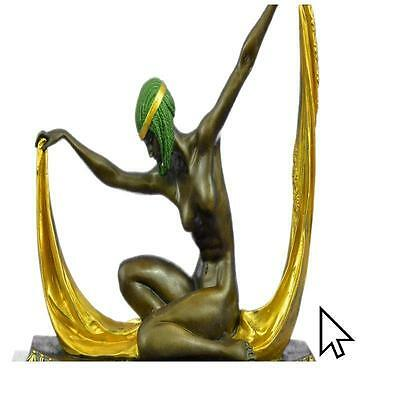 Graceful Nude Dancer By Mirval Bronze Sculpture Statue Figurine CB