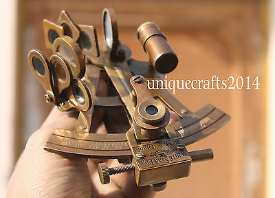 "4"" Solid Brass Brown Antique Sextant Vintage Navigation Maritime Astrolabe Gift."