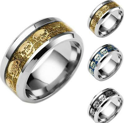 10x Punk Style Men's Skull Gothic Biker Stainless steel Rings job lot Party Gift