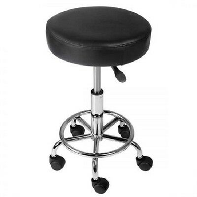 NEW 8cm Seat Padding PU Leather Swivel Medical Offices Salon Round Stool - Black